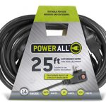 Power All Commercial Grade 125 Volt 25 ft Cord w/ Circuit Breaker Triple Plug (1 every 8 ft) -14 Gauge